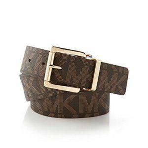 Michael Kors Gold Logo Brown/Tan Reversible Belt